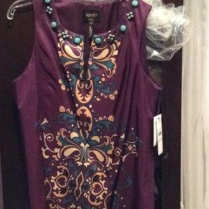 Laundry purple dress, silk, nwt, 6, knee length